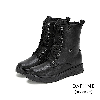 達芙妮DAPHNE 短靴-圓頭舒適短毛內裡綁帶式短靴-黑