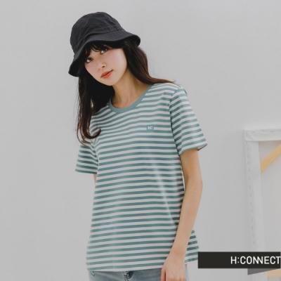 H:CONNECT 韓國品牌 女裝 -簡約純色條紋T-Shirt-藍綠色