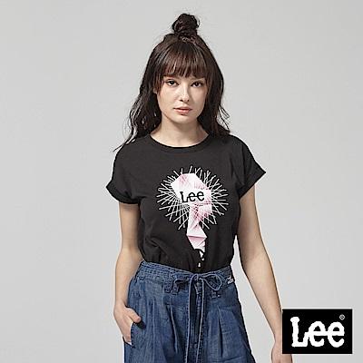 Lee 水晶生命之樹落肩短袖圓領TEE-黑