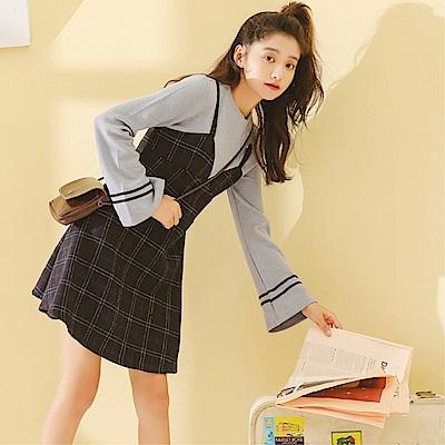 DABI 韓國學院風背帶假兩件格紋長袖洋裝
