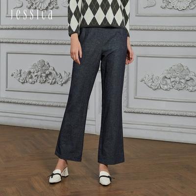 JESSICA - 百搭顯瘦雙排釦微喇叭牛仔長褲