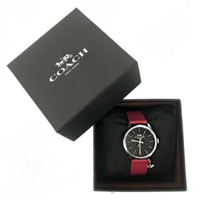 COACH經典馬車LOGO立體星星吊飾皮革錶帶石英錶女用手錶紅