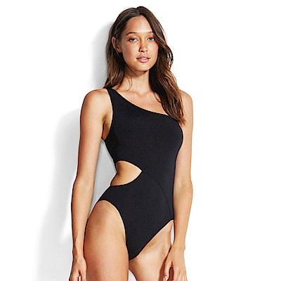 Avalanche巴西泳裝-南斯拉夫-單肩挖腰造型連身泳裝(黑)