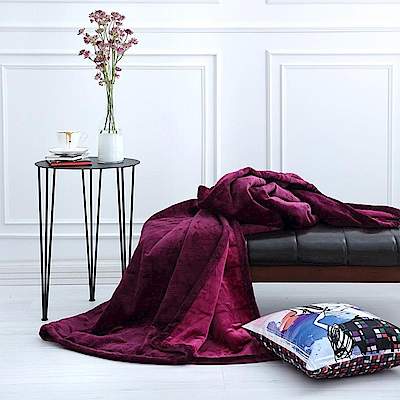 ELLE 簡約雙色壓紋 雙人毛毯