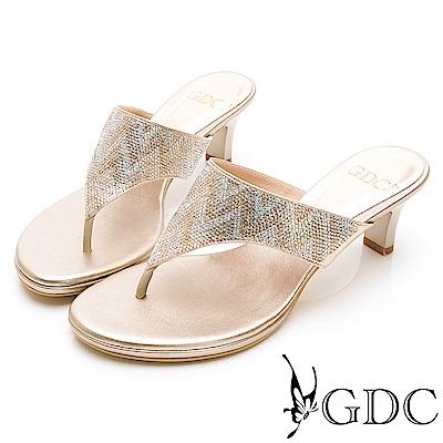 GDC-水鑽民族風高雅訂製款設計感夾腳拖鞋-金色
