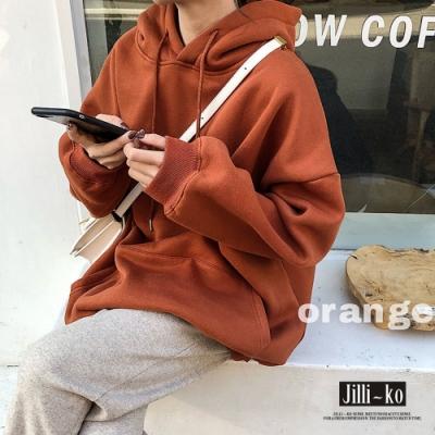 JILLI-KO 簡約純色百搭內刷毛連帽大學T- 藍/橘