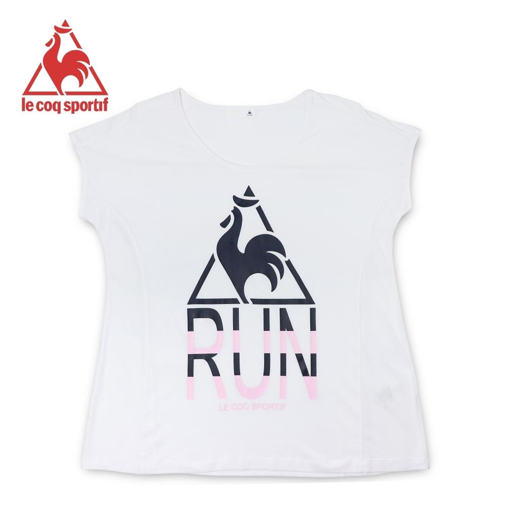 le coq sportif 法國公雞牌螢光LOGO印花寬鬆版飛飛袖短袖T恤 女-白