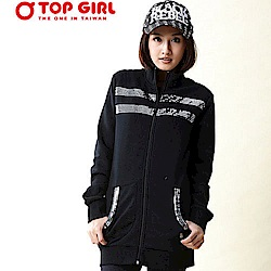 【TOP GIRL】亮片純色立領外套-神祕黑