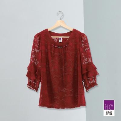 ILEY伊蕾 圖騰燒花荷葉袖上衣(紅)