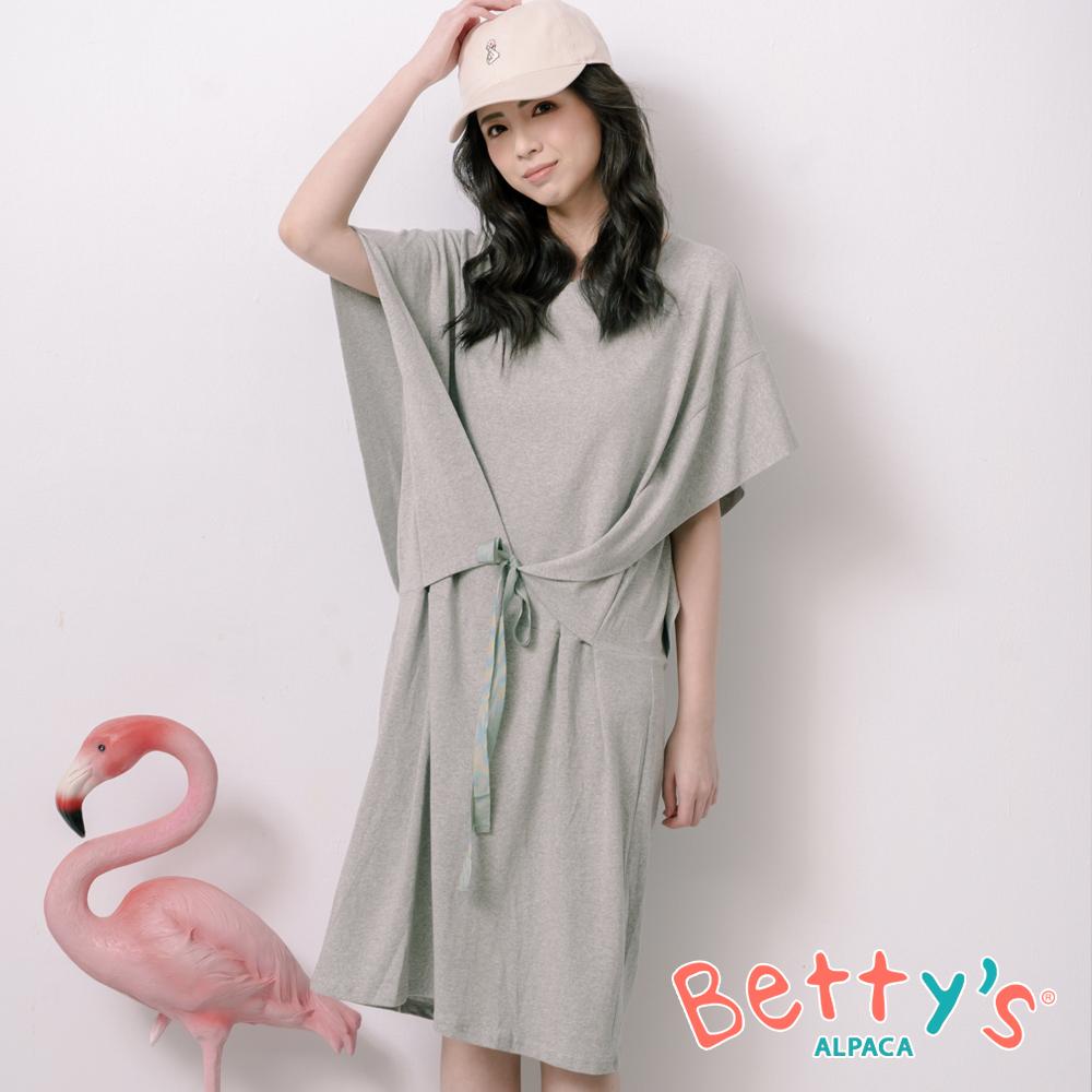 betty's貝蒂思 高雅落肩前綁帶洋裝(淺灰) @ Y!購物
