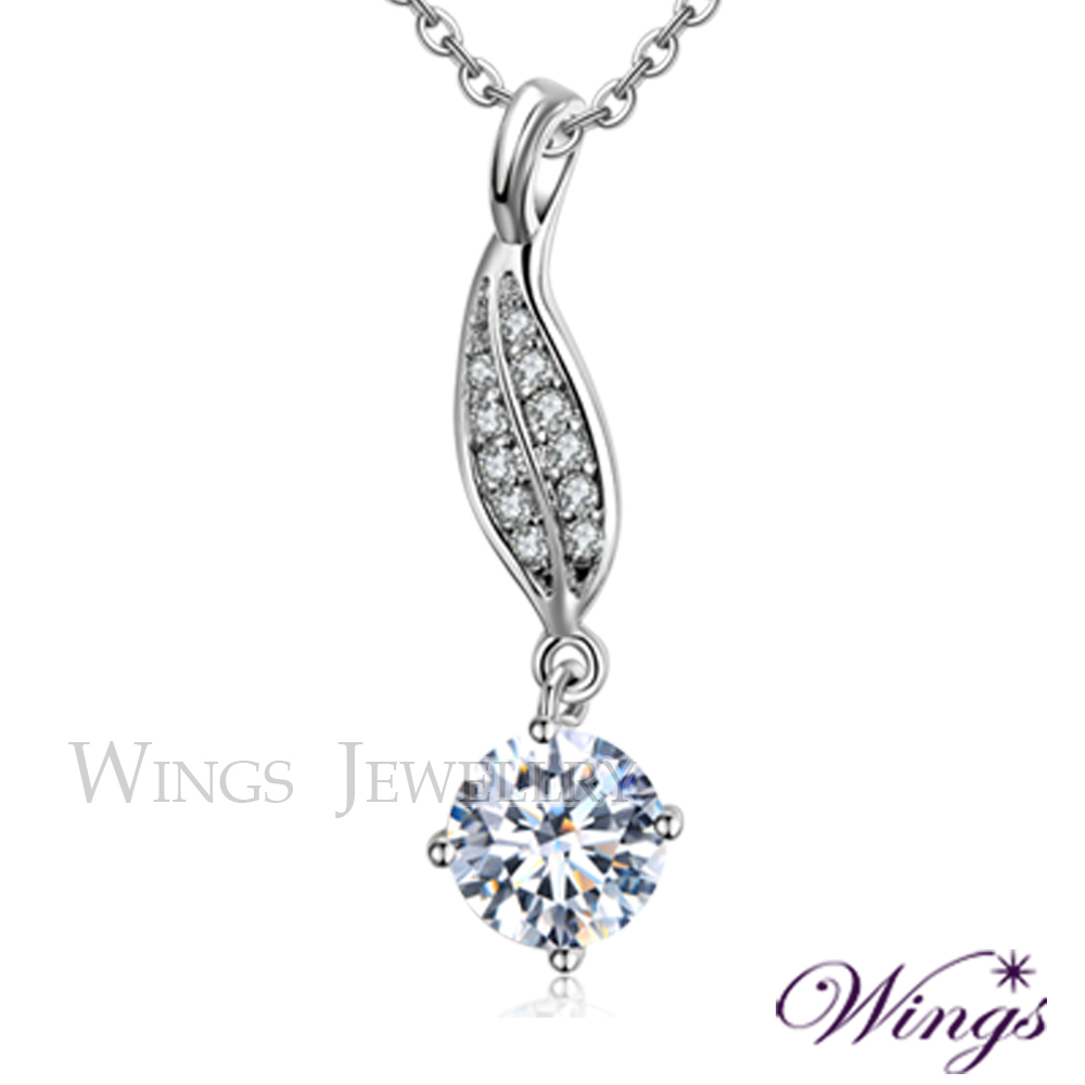 Wings 葉月 八心八箭進口方晶鋯石精鍍白K金項鍊