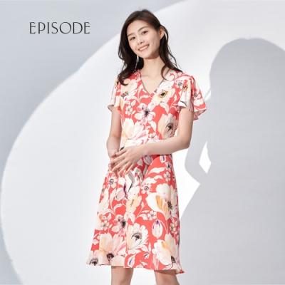 EPISODE - 夏日奪目印花V領短袖洋裝