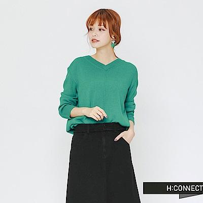 H:CONNECT 韓國品牌 女裝-後領口造型針織上衣-綠