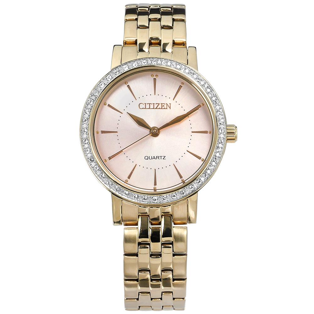 CITIZEN 優雅晶鑽鑲圈不鏽鋼(EL3043-81X)手錶-粉x鍍香檳金/31mm