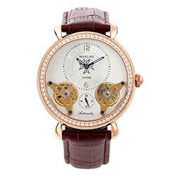 Manlike 曼莉萊克 奢華噴射雙渦輪機械錶 玫瑰金色 咖啡皮帶