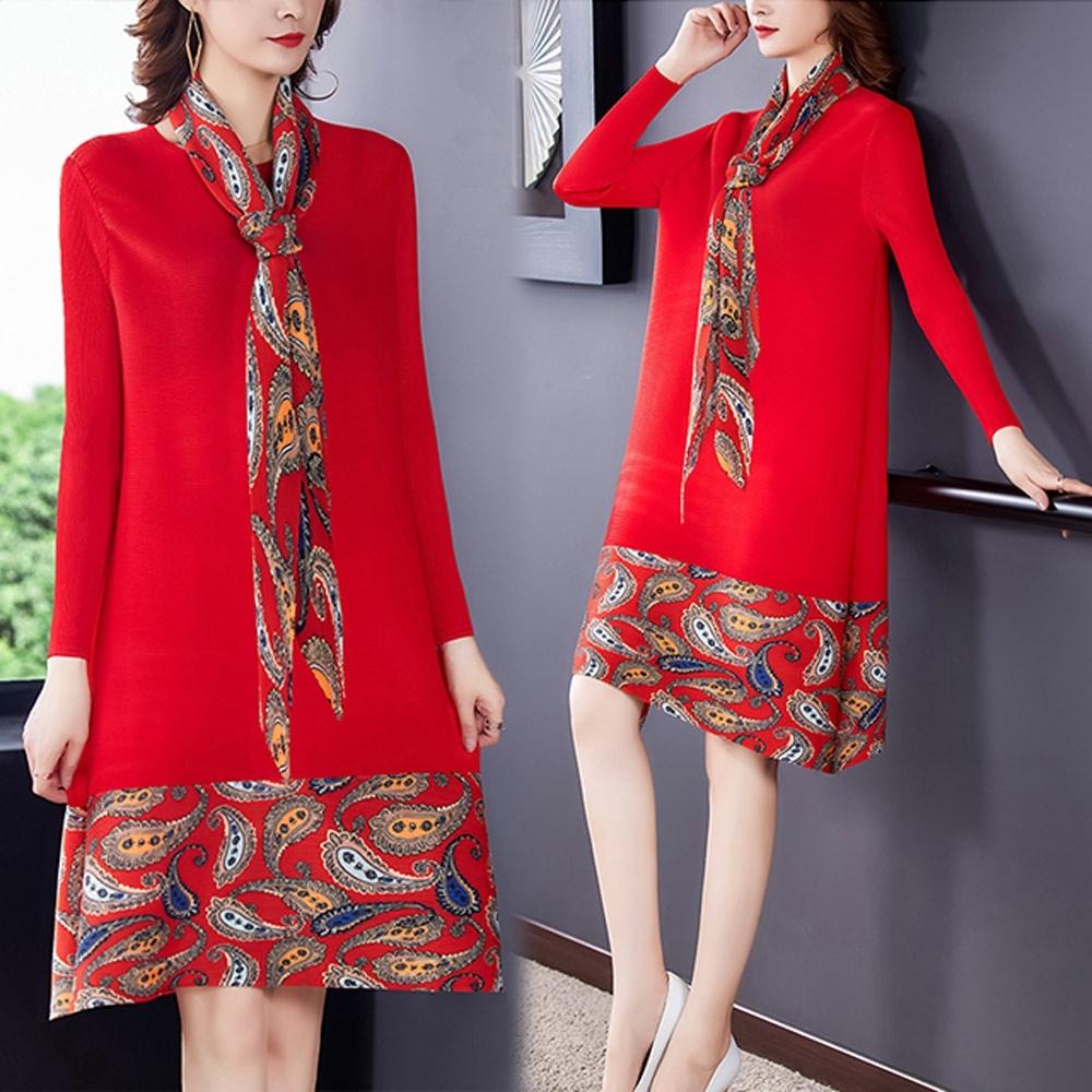 【KEITH-WILL】(預購)韓流質感生活壓褶洋裝(共1色) (紅色)