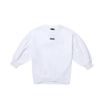 FILA KIDS #日潮攻略首部曲 女童七分袖上衣-白色 5TEU-4435-WT