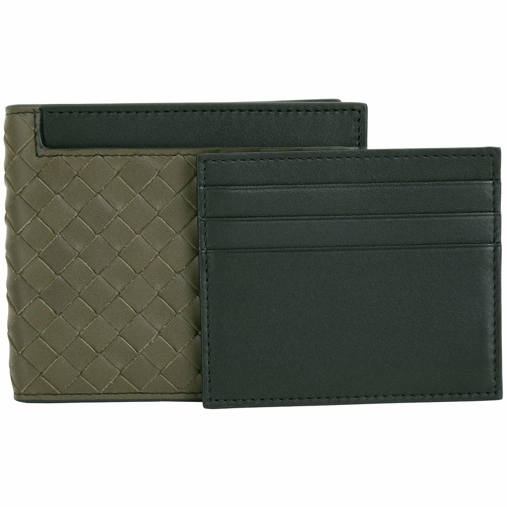 BOTTEGA VENETA  附可拆黑色卡夾牛皮手工編織對折短夾(橄覽綠)