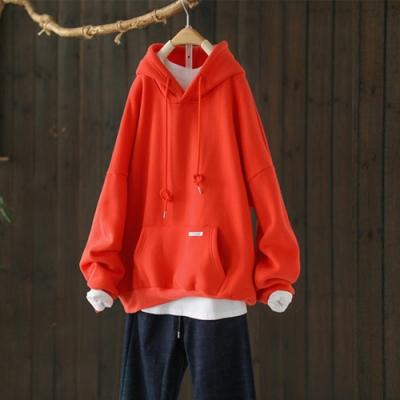 軟糯柔滑單色拼接抽繩連帽加絨衛衣寬鬆長袖上衣-設計所在