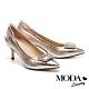 高跟鞋 MODA Luxury 奢華閃耀水鑽造型釦全真皮尖頭高跟鞋-金 product thumbnail 1