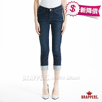 BRAPPERS 女款 新美腳ROYAL系列-女用中高腰彈性鑲鑽直筒褲-藍