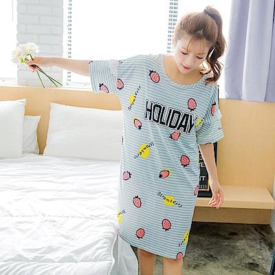 水果/笑臉造型連身條紋睡衣-OB大尺碼