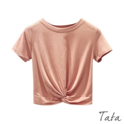 素面扭結短版上衣 共二色 TATA