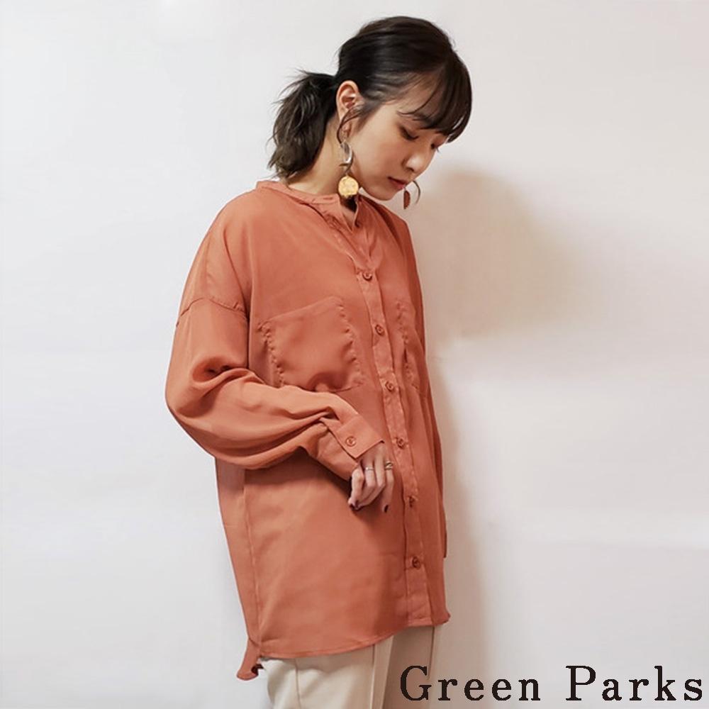 Green Parks【SET ITEM】口袋造型透膚長版襯衫+內搭背心