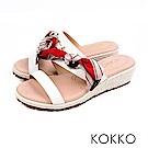 KOKKO - 陽光芬芳蝴蝶結草編超軟底拖鞋-白百合