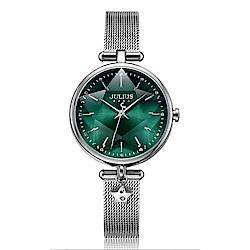 JULIUS聚利時 星辰微光立體切割鏡面米蘭帶腕錶-銀色X綠色/29X35mm
