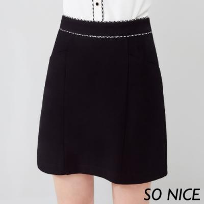 SO NICE時尚千鳥格滾邊羅馬布短裙