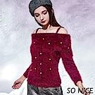 SO NICE優雅珍珠毛絨針織上衣