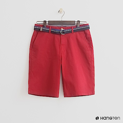 Hang Ten - 男裝-帆布腰帶造型西裝短褲 - 紅