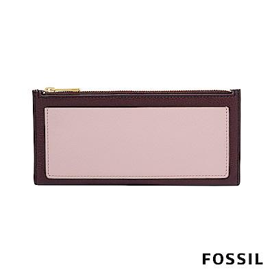 FOSSIL SHELBY 真皮系列拉鍊長夾-暗紅色