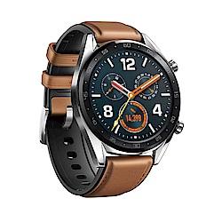 HUAWEI WATCH GT 鋼色(馬鞍棕皮膠錶帶)智慧手錶