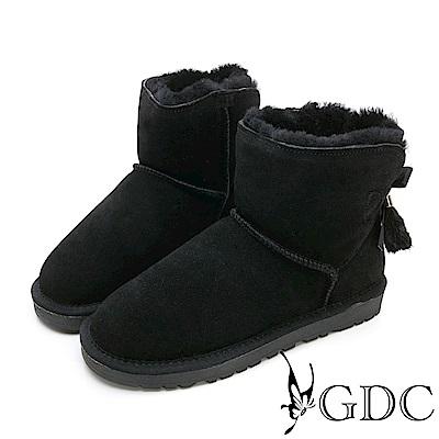 GDC-秋冬必備超夢幻狐狸毛緞帶蝴蝶結暖暖雪靴-黑色