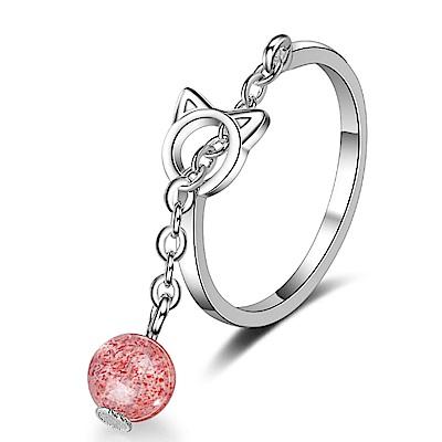 Angel可愛貓咪鏤空草莓晶月光石戒指2色可選