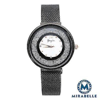 Mirabelle 流沙星鑽 閃耀圓框金屬編織錶 閃光黑35mm