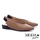 跟鞋 MODA Luxury 優雅拼色設計牛皮尖頭低跟鞋-卡其