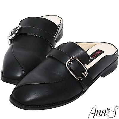 Ann'S微帥氣-G扣帶平底穆勒鞋-黑