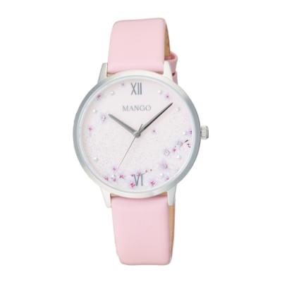 MANGO 星願花語氣質腕錶-粉色(MA6757L-10)36mm