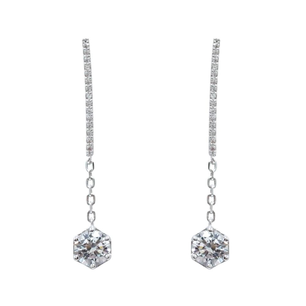 Prisme 美國時尚飾品 閃耀垂墜六角水晶銀色耳環