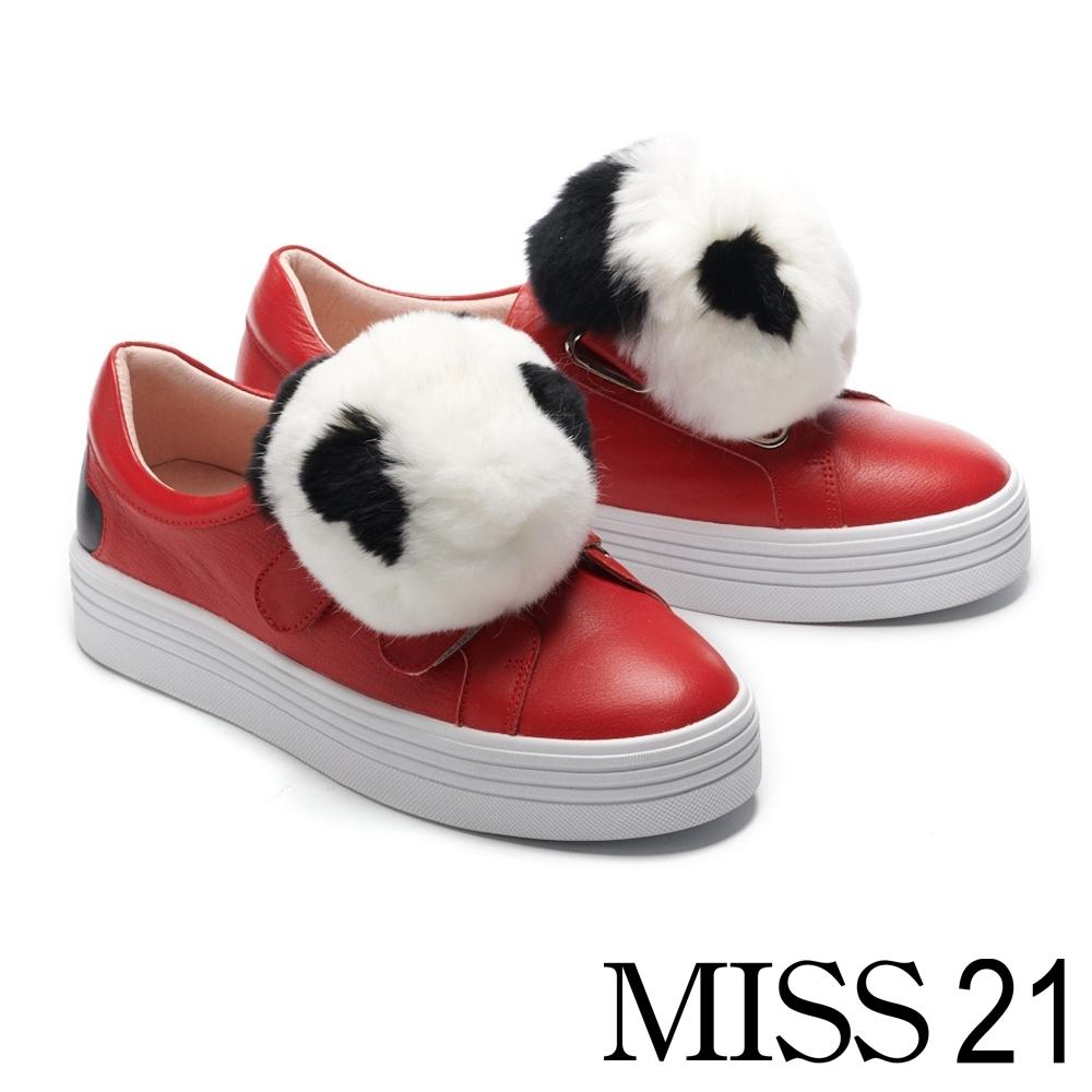 休閒鞋 MISS 21 俏皮可愛熊貓毛球厚底休閒鞋-紅