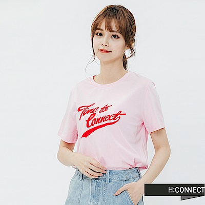 H:CONNECT 韓國品牌 女裝-活力草寫文字T-shirt-粉