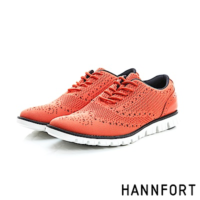 HANNFORT ZERO GRAVITY輕盈編織時尚牛津氣墊鞋-男-魅力橘