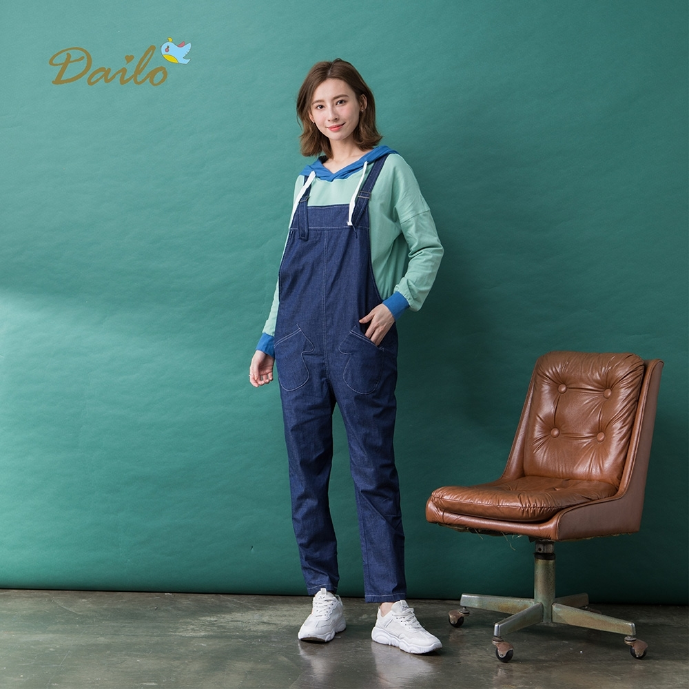 【Dailo】交錯綁帶設計吊帶-長褲(二色/版型適中)