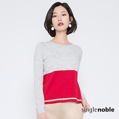 獨身貴族 標誌女子麻花織紋撞色針織衫(2色)