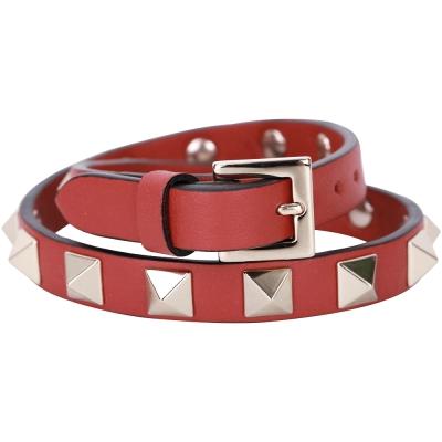 VALENTINO Rockstud 金色鉚釘雙繞小牛皮手環(紅色)