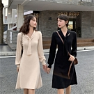 淑女V領結條紋長袖針織顯瘦連身洋裝F(共二色)-Dorri