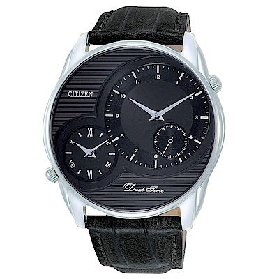 CITIZEN 物換星移雙時區小秒針石英腕錶(AO3009-04E)-黑x44mm